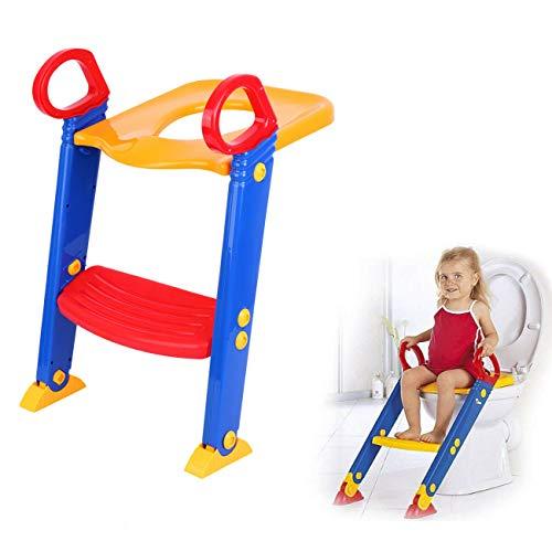 XuanYue Kinder Toilettensitz mit Treppe Baby Toilettentrainer Rutschfest Stabil Klappbar und Höhenverstellbar (Stile 1)