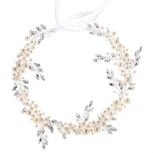 Handmade Silver Color Pearl Fascia Fascia Foglia Testata Bridal Crystal Tiara Accessori per Capelli da Sposa Donne Gioielli per Capelli (Metal Color : Silver Headband)
