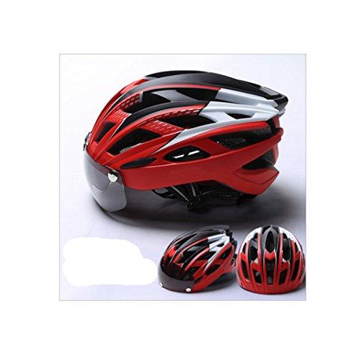MISHUAI fietshelm fietshelm fietshelm maat 27 gat hoofdbescherming 8 kleuren selecteerbaar (kleur: rood)