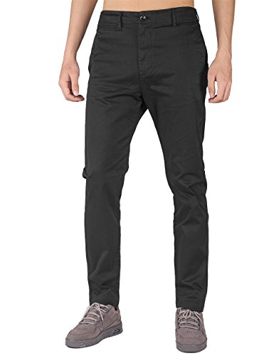 THE AWOKEN Hombre Chino Casual Pantalón Business Wear Slim Fit (30, Negro)