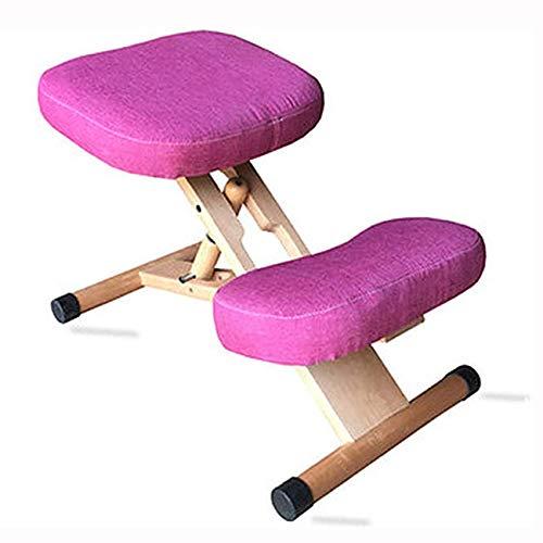 AFTIU Kniestuhl aus Holz für zu Hause, Höhenverstellbarer Ergonomischer Kneeling Chair zur Linderung von Rücken- und Nackenschmerzen, Verhinderung von Myopie, für Computer und Büro,Rosa