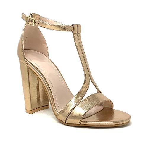 Angkorly - Damen Schuhe Sandalen Pumpe - glamourös - Abend - High Heel - Riemen - metallisch Blockabsatz high Heel 10.5 cm - Rosa Gold 369-35 T 39