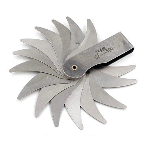 Aexit Concave Convex Reference Gauges Double Ends 16 Leaves R1-6.5mm Radius Gauge Measure Tool Radius Gauges 3 Pcs
