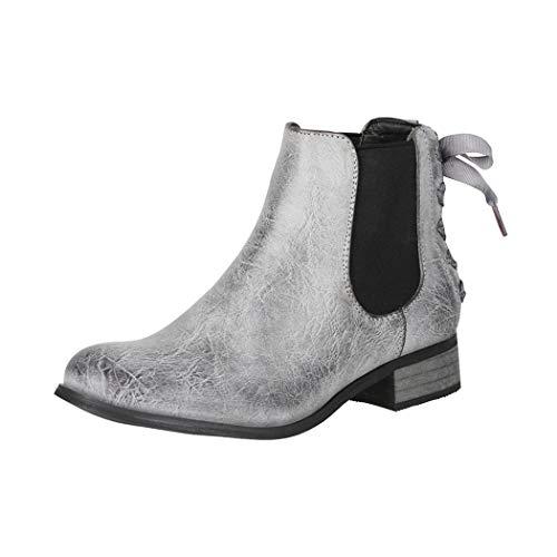 Elara Damen Stiefeletten Chelsea Boots mit Schleife Chunkyrayan F916 Grey-39