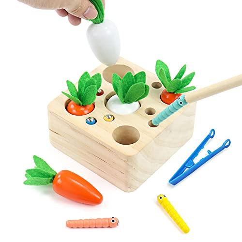 Juguetes Bebe Juguetes de Madera Montessori Bebe Zanahorias Clasificación y Pesca Magnética 2 en 1 Juegos Educativos Regalos para Niños Juguetes Niños 3 4 5 6 Años