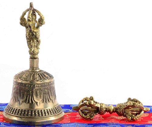 BUDDHAFIGUREN Ghanta - Campana (13 cm de Alto, con dorje y Funda de Brocado)