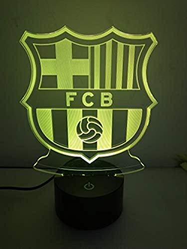 Nightlight Barcelona Fc Club Liverpool Club Fútbol Led Efecto visual Interruptor 3D Conversión táctil 7 colores Lámpara de habitación para niños-Barcelona_A