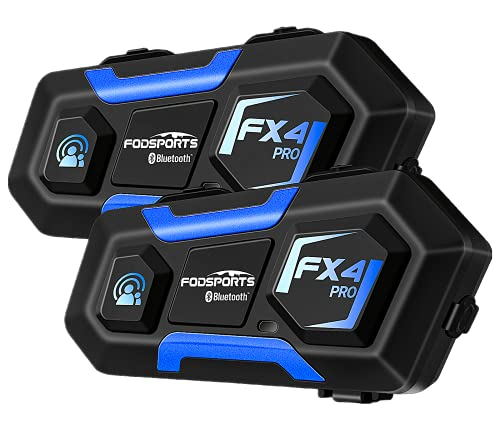Motorcycle Bluetooth Communication System Fodsports FX4 Pro 1200M 4 Riders Motorcycle Bluetooth Intercom 850mAh Universal Entertainment Helmet Bluetooth Headset for Referee ATV Off-Road Hard/Soft Mic