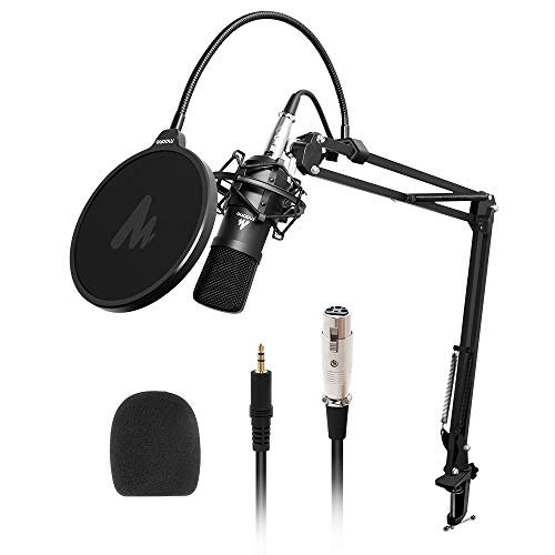 Maono AU-A03 Condenser Microphone Kit Podcast Mic with Boom Arm Microphone Stand (Black)