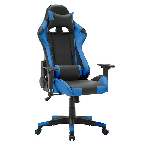 T-LoVendo TY-OC-RC1-BLUE Silla Gaming Oficina Racing Sillon Gamer Despacho Profesional Videojuegos PC