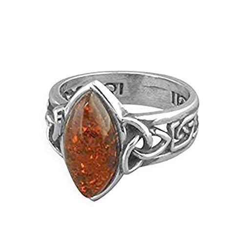Marquiseschliff cognac Bernstein Sterling Silber Ring mit breit Irish Celtic Trinity Knoten, Schulter–Größen l-r erhältlich