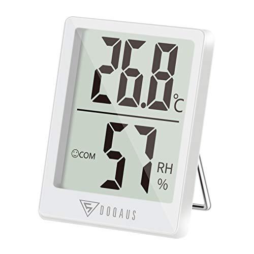 DOQAUS Hygrometer Innen, Mini Digitales Thermometer Innen Luftfeuchtigkeitsmessgerät Hydrometer Feuchtigkeit Digital mit Hhen Genauigkeit, Thermo Hygrometer für Babyraum, Wohnzimmer, Büro(Weiß)