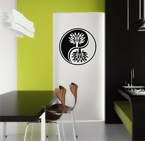 Sticker mural Yin Yang Yin coton caractères dans 33 couleurs mat ou brillant autocollants Mandala Yoga Sticker mural 60 cm - Rose brillant