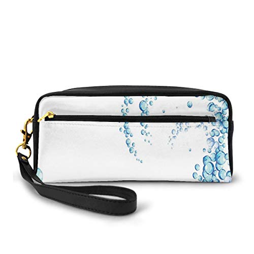 Pencil Case Pen Bag Pouch Stationary,Water Droplets Bubbles of Air Aquatic Fresh Simple Pattern Splashes Waves Ocean,Small Makeup Bag Coin Purse