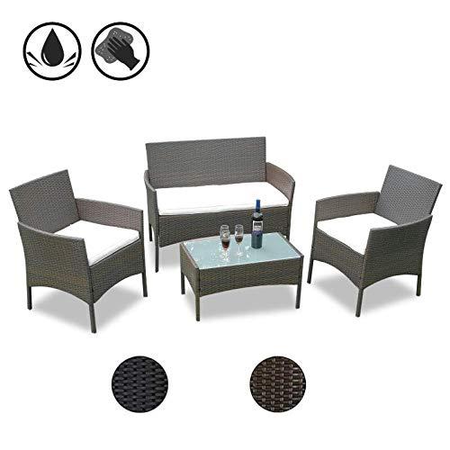 Hengda Gartenmöbel Set Braun Poly Rattan Sitzgruppe Lounge Set Langlebig Lounge Set für 4 Personen - Mit 2-er Sofa, Singlestühle, Tisch und Sitzkissen