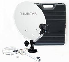 Telestar Camping-Sat-System (hårt fodral, 13,7 tum (35 cm) spegel , enkel LNB (0.1dB), kompass, kabel 10m, olika hållare)
