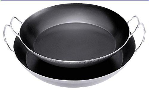 Paella-Eisenpfanne aus gebläutem Stahl, Materialstärke 1,5 mm, Griffe ungeschwärzt, induktionsgeeignet | ERK (A4 - Ø 60 cm)