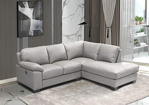 GREY High Grade Genuine Italian Leather Corner Sofa + USB CHARGING PORT - BROOKLYN (Right Hand Facing)