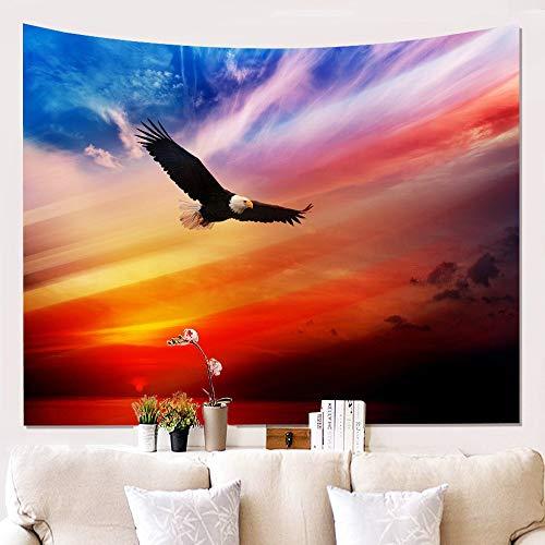 Tapestry Wall Hanging,Indische Böhmischen Hippie Spirituelle Vogel, Schwarz Falke Sonnenuntergang,Vogue Moderne Print Fabric Wall Art Einrichtung, Große Dekorative Hängenden Tuch Für Schlafzimmer