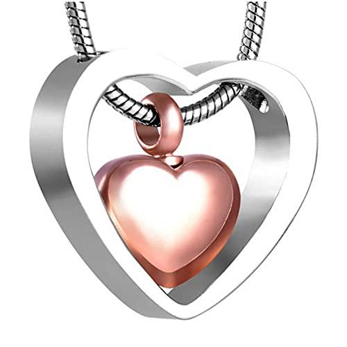 Wxcvz Cremación Collar De Recuerdo Corazón En Corazón Collar De Joyería De Cremación Urna Colgante De Recuerdo Conmemorativo para Cenizas con Kit De Relleno De Embudo