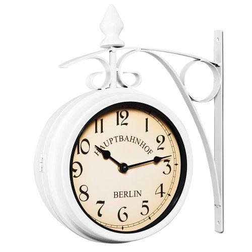 Deuba Zweiseitige Bahnhofsuhr - Wanduhr Uhr Retro Antik Stil Quarz - weiß