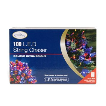 The Christmas Workshop 100 LED Multi-Coloured Chaser lights, Indoor and Outdoor ~ Christmas, Weddings & Gardens ~ 8 Functions ~ 77270