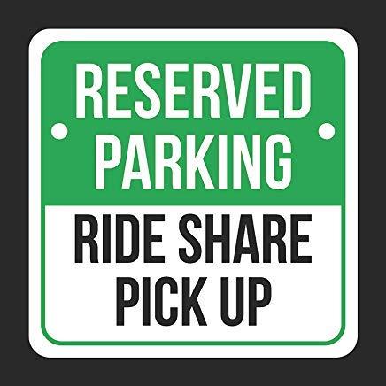 JeremyHar75 Reserved Parking Ride Share Pick Up Print Schwarz Hinweis Parken Kunststoff Quadrat Blechschild Küche Esszimmer Haus Dekor Essen Drink Bar 30 cm x 30 cm