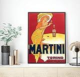 Martini and Rossi 1970s Pinturas en lienzo publicitarias Bebidas alcohólicas vintage Vino Cerveza Póster Arte de pared clásico Decoración de imagen (40 x 60 cm) - Pulgada sin marco