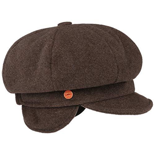 Mayser Camilla Ballonmütze mit Ohrenklappen Earflaps Wollcap Wintermütze Damenmütze Mütze (M (56-57 cm) - braun-meliert)