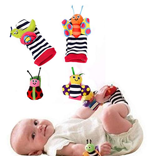 Buy 4 Pieces of Cute Animal Soft Baby Socks Toy Rattle and Foot Protector (Fun Butterfly and Snail)