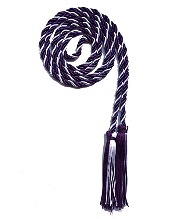 Graduation Honor Cord Two-Color Braided Grad Days (Purple White)