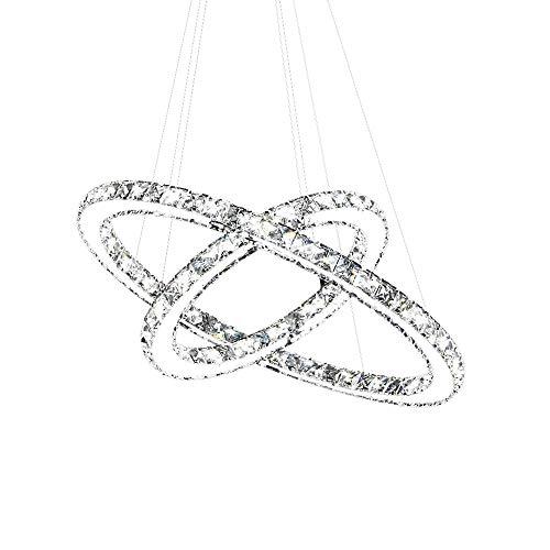 SAILUN 48W LED Kristall Design Hängelampe Zwei/Drei Ringe Deckenlampe Pendelleuchte Kreative Kronleuchter Dimmbar Lüster (48W Kaltweiß)
