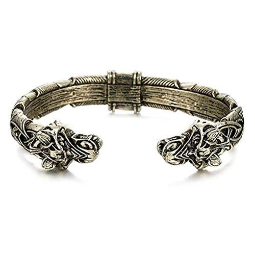 wongbey Pulsera hecha a mano con diseño de cabeza de lobo vikingo, hecha a mano, exquisita, pulsera vikinga, regalo de joyería ideal para hombre y mujer.