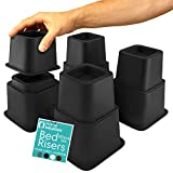 Home Intuition Heavy Duty Adjustable Bed Risers Furniture Riser 3, 5 or 8-Inch, 4 Pack (Black)