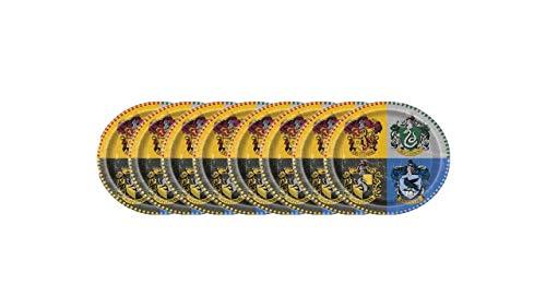 2757; paquete de 8 platos de cartón Harry Potter; diametro 22 cm; ideal para fiestas y cumpleaños.