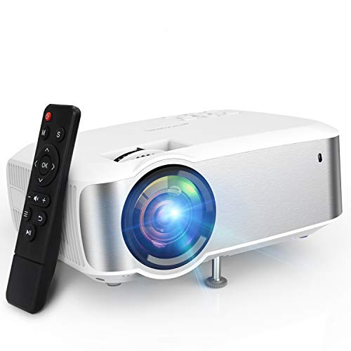 Projector, TOPVISION 1080P Supported Led Projector with 6000L,60,000 Hrs Movie Projector for Indoor/Outdoor Use, Compatible with Fire TV Stick, PS4