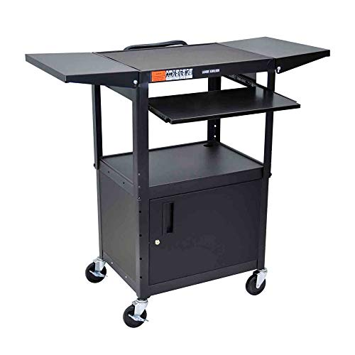 Luxor Adjustable Height Steel Electric Audio Video Cart with Pullout Keyboard Tray, Cabinet and Drop Leaf Side Shelf