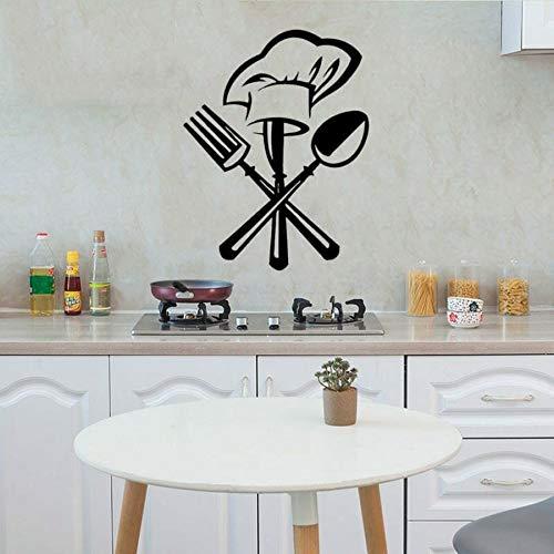 yaonuli Creative Sticker Mural Couteau et Fourchette Chef Chapeau Vinyle Autocollant Mural Amovible Murale 63X81 cm