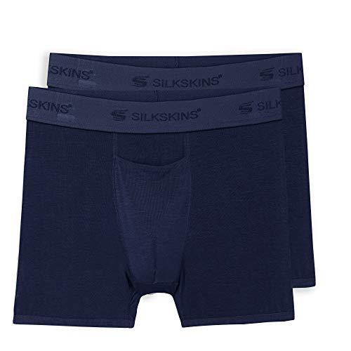 """Terramar Men's Standard SilkSkins 3"""" Inseam Boxer Briefs with Fly (1 Underwear), Navy (2 Pack), XX-Large"""