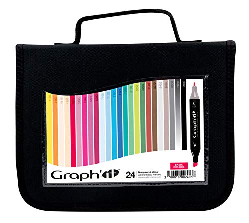 Graph'it Lot de 24 Marqueurs à alcool double pointe Basic colors
