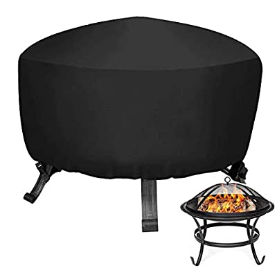 Round Fire Pit Cover - Waterproof Outdoor Fire Pit Cover with Hem Cord + 2 Adjustable Release Buckles, Durable 420D Oxford Wood Fire Pit Cover Fire Bowl Cover by GZtjxf