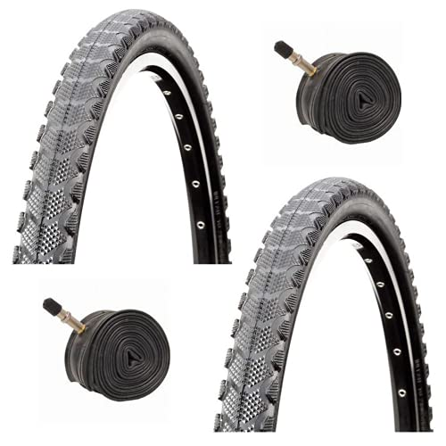 Raleigh Cross Life 26' x 1.90 Mountain Bike Tyres with Schrader Tubes (Pair)