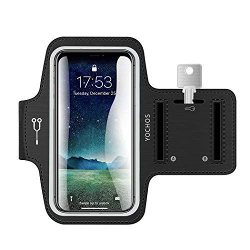 YOCHOS iPhone X/XR/Xs Max 8 7 6/6s Plus Armband Running Armband Fits Samsung Galaxy S9 + S8/S7/S6 Edge Note 9/8 LG G6 with Adjustable Elastic Band & Key Holder【Face Recognition Access】