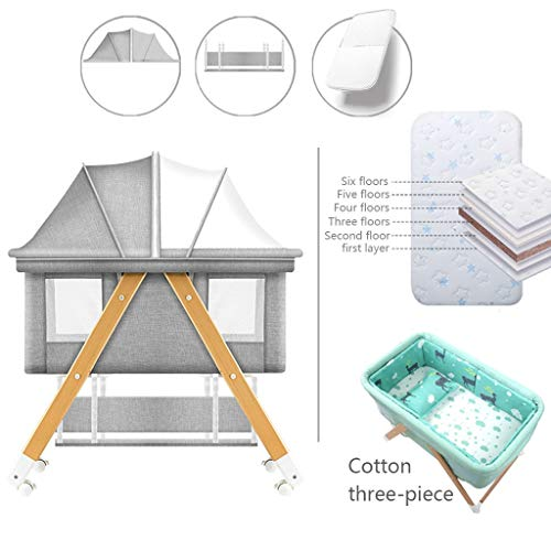 Great Features Of Baby cradle Rocking Chair 2 in 1 Travel Crib Portable Baby Bedside Folding Cot Inf...
