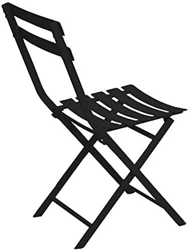 HUAXUE Silla Plegable de jardín, Silla Plegable, Silla de Comedor Plegable de Acero, Silla Lateral de Ocio al Aire Libre para jardín Silla de Evento de Pub Pub Negro 40.5x44x80.5cm (16x17x32inch)