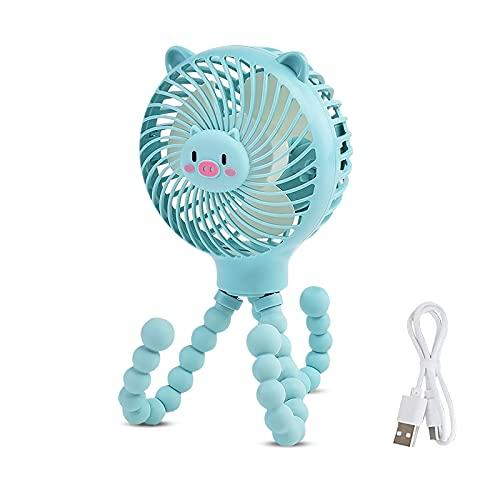 SONARIN Mini Ventilador USB Carrito Bebe,3 velocidades,silenciosos Recargable,con trípode flexible,Portatil Ventilador para coche / cochecito / bicicleta / camping / barbacoa / gimnasio(Azul)