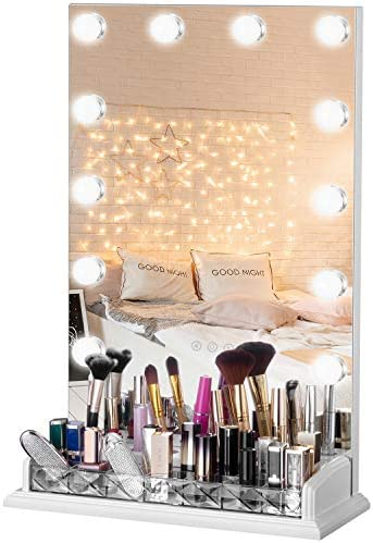LUXFURNI Vanity Table Makeup Hollywood Mirror Dimmable Light Touch Control 12 Cold Warm LED product image