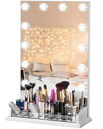 LUXFURNI Schminktisch Hollywood Spiegel dimmbar Licht Touch Control 12 kalt/warme LED-Lichter, Make-up-Organizer Pinselhalter