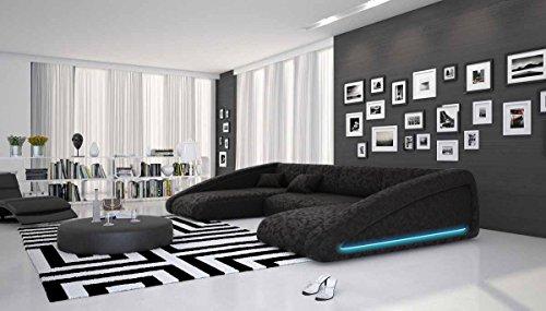 Wohn-Landschaft XXL mit LED-Beleuchtung in schwarz 355x200 cm U-Form | Sanassi-U | Design Couch-Garnitur XXL aus Microfaser | Polster-Ecke für Wohnzimmer schwarz 355cm x 200cm