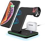 POWERGIANT Cargador Inalambrico Plus, 15W Cargador Carga Rapida, 3 en 1 Base Carga Inalambrica, Wireless Charger para iPhone 12 /11 pro/ XS/X/SE/ iWatch 6/5/4/3/ Cargador Airpods
